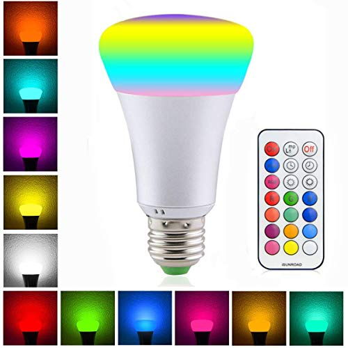 LED Color Changing Light Bulbs E26 Base A19 10W RGBW Dimmable Colorful Time Switch Dual Memory Light Bulb with Remote Control