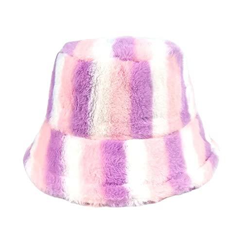 HUANGA Sombrero de Cubo de Piel sintética con Estampado de arcoíris para Mujer, Gorro de Pescador cálido y Esponjoso para Invierno