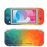 Taifond Aufkleber-Set Faceplate Skin + 2 Displayschutzfolien für Nintendo Switch Lite Konsole & Joy-Con Controller & Dock Protection Kit Farbiges Dreieck
