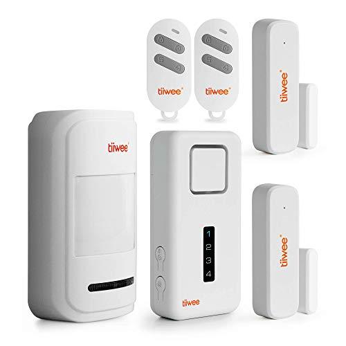 tiiwee X1-XLPIR Draadloos Alarmsysteem - X1-Sirene 120dB - 1 Bewegingsmelder - 2 Raam en Deursensoren - 2 Afstandsbedieningen