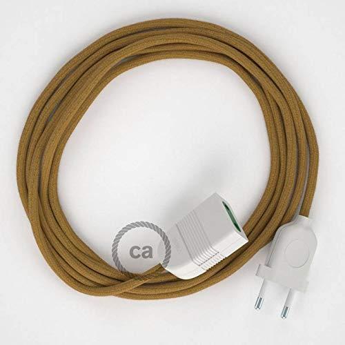 Rallonge électrique avec câble textile RC31 Coton Miel Doré 2P 10A Made in Italy. - 1.5 Mètres, Noir