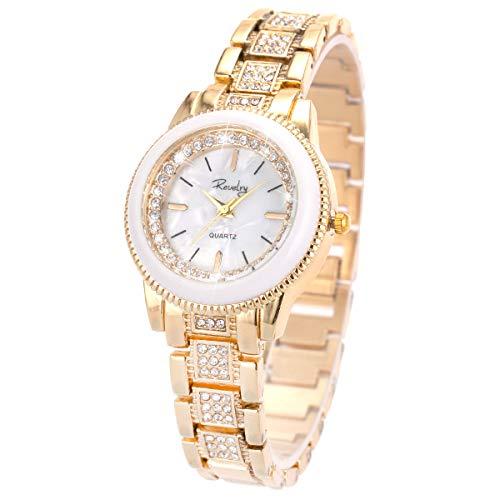Reloj De Pulsera De Señora Sqosun con Brazalete De Oro Y Acero Inoxidable para Mujer, Reloj De Pulsera De Señora.