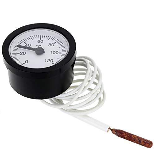 rongweiwang 52mm Dial termómetro capilar Medidor de Temperatura con el termómetro con Sensor 120 1,15 m Sensor 0-120 Grados centígrados para la medición del líquido del Agua