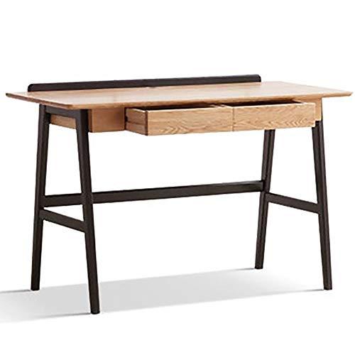 Alle Massivholz-Schreibtisch Kabel Loch-Design mit Leitschiene Study Room Computer-Schreibtisch Student Studie Schreibtisch Doppel Fach-Speicher Eiche Schreibtisch 120 * 56 * 78cm (Size : 1m)