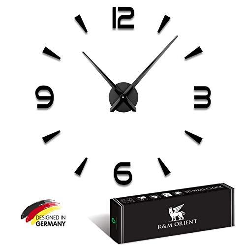 R&M Orient Reloj de pared 3D, grande, moderno, para decoración de hogar, oficina (negro)