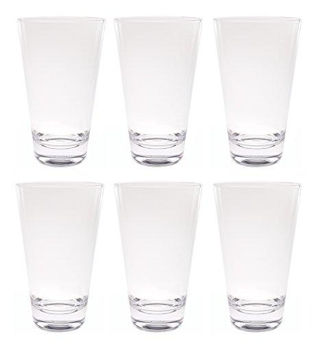 QG 21 Ounce Acrylic Plastic Iced Tea Cup Glass Heavy Round Base Tumbler Set of 6 Clear