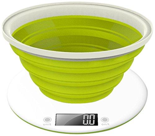 Efbe-Schott Küchenwaage mit faltbarere Silikonschüssel, 5 kg-Tragkraft, grün/weiß