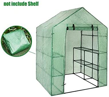 kaigeli Mini Walk-in Greenhouse Indoor Outdoor -2 Tier 8 Shelves- Portable Plant Gardening Greenhouse (143 X 73 X 195 cm), Grow Seeds & Seedlings, Herbs Flowers Or Tend Potted Plants(only Cover)