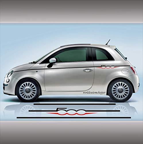 2 FASCE ADESIVE FIAT 500 SET COMPONIBILE AUTO TUNING STRISCE STICKERS DECAL (NERO SUPERIORE ROSSO INFERIORE)