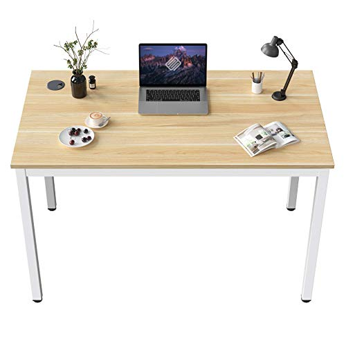 EUREKA ERGONOMIC Small White Desk 31.5-Inch Writing Computer Desk Home Office Sturdy Table with Adjustable Feet, Metal Frame White