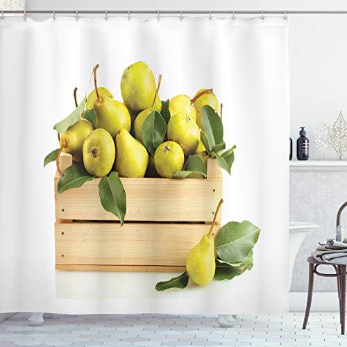 ABAKUHAUS Birne Duschvorhang, Holz Korb mit reifem Obst, aus Stoff inkl.12 Haken Digitaldruck Farbfest Langhaltig Bakterie Resistent, 175x180 cm, Gelb Grün Beige