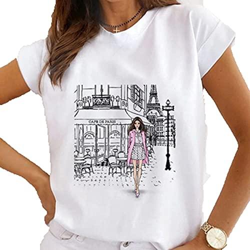 SLYZ Camiseta De Manga Corta con Estampado De Cuello Redondo De Verano para Mujer Blusa Blanca Informal De Todo Fósforo