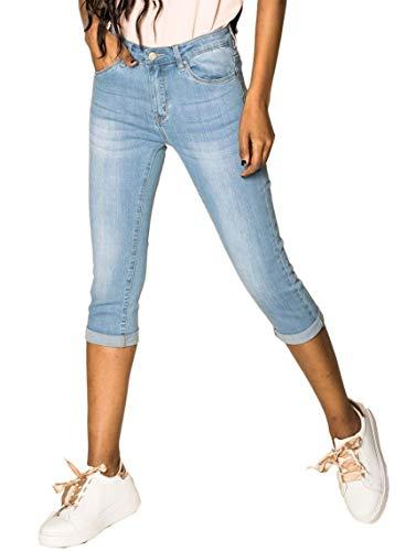 EGOMAXX Damen Capri Jeans Shorts Stretch Skinny 3/4 Bermuda Kurze 5 Pocket Hose Weich Denim Casual, Farben:Hellblau, Größe:44