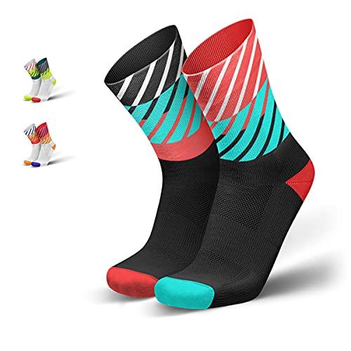 INCYLENCE Diagonals lange gepolsterte Laufsocken, Running-Socks, atmungsaktive Sportsocken mit Anti-Blasen Schutz, Kompressionsstrümpfe, Schwarz, Türkis, Neonrot, 43-46