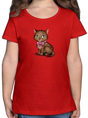 Tiermotive Kind - Kätzchen mit Schleife - 116 (5/6 Jahre) - Rot - Kinder Shirt mit Katze - F131K - Mädchen Kinder T-Shirt