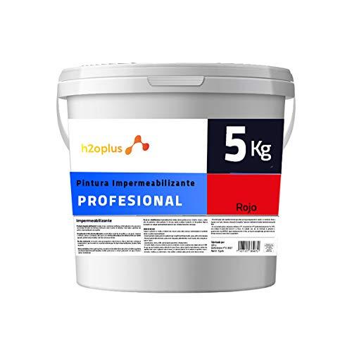 Profesional Pintura de Caucho Roja Impermeabilizante · Revestimiento Exterior para Terrazas y Azoteas Transitables · 5KG (4,15 L) · NO Necesita Fibra