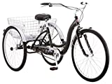 Schwinn Meridian Adult Trike, Three Wheel Cruiser Bike, 1-Speed, 26-Inch Wheels, Cargo Basket, Black