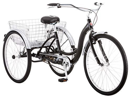 Schwinn Meridian Adult Trike, Three Wheel Cruiser Bike, 1-Speed, 26-Inch Wheels, Cargo Basket, Black