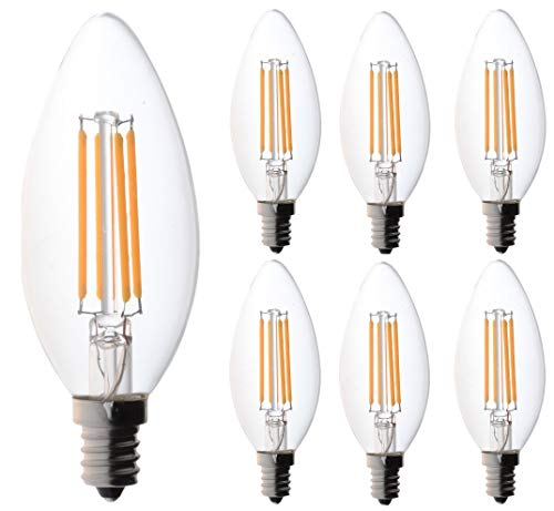 60 Watt Candelabra Bulbs, Bioluz LED Dimmable Clear Filament LED Bulbs (Uses only 4.5 watts) E12 Base Type B Type C Candle Bulbs Pack of 6
