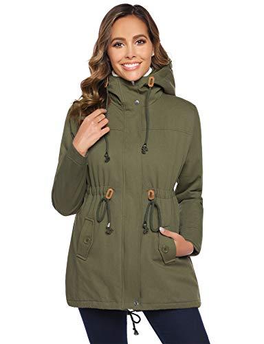 Abrigo de invierno Abollria para mujer con capucha y chaqueta con cordón, color verde militar, talla XL