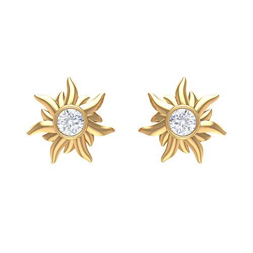 Pendientes de diamante para mujer (calidad AAA), con rosca trasera amarillo
