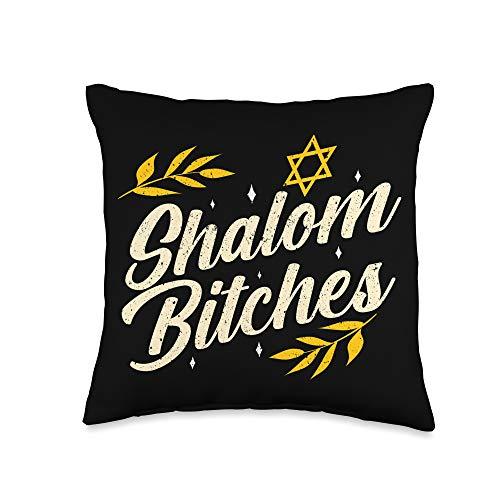 Spin My Dreidels – Funny Hanukkah Holiday Gifts Hanukkah Shalom Bitches Funny Retro Jewish Holiday Gift Throw Pillow, 16x16, Multicolor