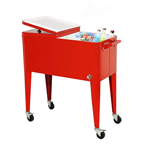 80 Quart Outdoor Patio Cooler Cart, Rolling Ice Chest with Bottle...