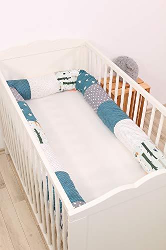 Baby Nestschlange | Made in EU | ÖkoTex 100 | Schadstoffgeprüft | Antiallergisch | Baby Bettumrandung | Bettschlange | Waldtiere Petrol | 300 x 13 cm | ULLENBOOM ®