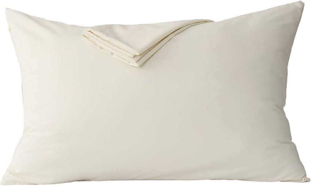 RUIKASI - Funda de almohada 50 x 70 cm, de microfibra cepillada, funda de cojín con cierre de sobre, color crema