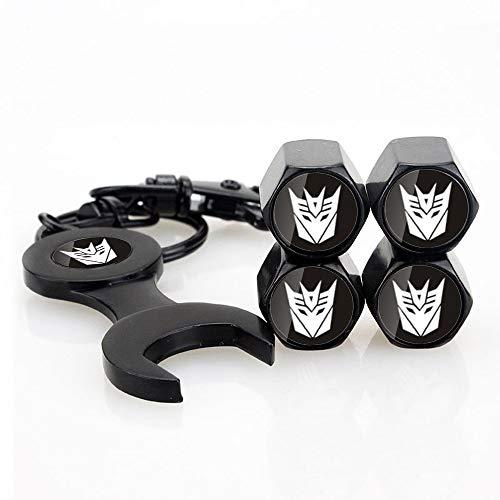 INCART Universal Stainless Steel (4pcs) Car Tire Caps Car Valve Stem Air Cover Caps + (1pcs) Keychain Transformers Decepticons Fashion Black