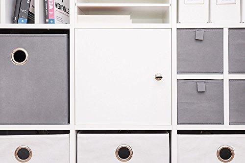 INWONA Abschließbare Tür für Kallax Regal Schließsystem: verschiedenschließend/Kallax Tür mit Schloß und Rückwand in weiß - ideal für Lehrerzimmer Arbeitszimmer Kindersicherung