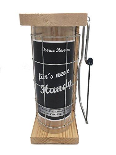 für´s Neue Handy Eiserne Reserve Spardose incl. Säge zum zersägen des Gitter, Geldgeschenk, das andere Sparschwein, witzige Sparbüchse, Geschenkidee