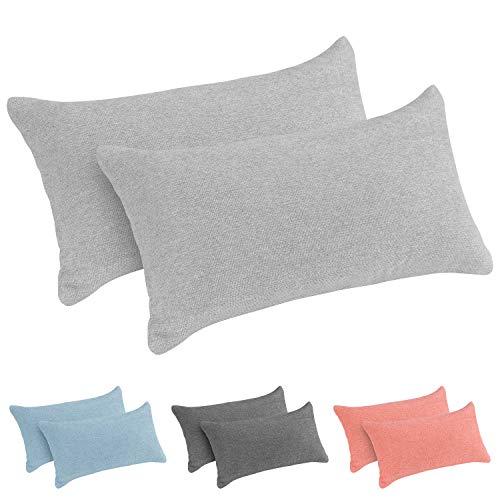 Monsera Juego de 2 almohadas, suave y estable, funda moteada, cojín interior de espuma viscoelástica de memoria, cojín para el cuello y la espalda, para cama, sofá, viajes, tamaño: 38 x 20 cm (gris)