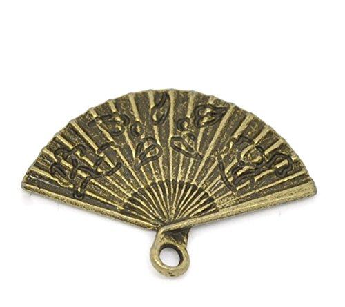 HOUSWEETY 50 Bronze Tone Hand Fan Charm Pendants 24x17mm-Jewellery Making...