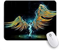 NIESIKKLAマウスパッド クールな天使の羽の音楽素敵な楽しい独特のデザイン ゲーミング オフィス最適 高級感 おしゃれ 防水 耐久性が良い 滑り止めゴム底 ゲーミングなど適用 用ノートブックコンピュータマウスマット