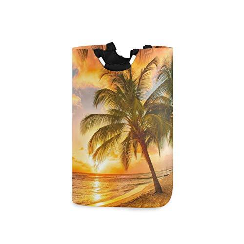 CaTaKu Hawaii - Cesto para la colada, diseño de palmeras, resistente al agua, fácil de transportar para el dormitorio familiar, 12,6 x 11 x 22,7 pulgadas