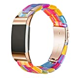 Wongeto Resin Band Compatible with Fitbit Charge 2 for Women Men,Fashion Resin Band Bracelet Wristband Strap for Fitbit Charge 2 HR Wristbands (Rainbow)