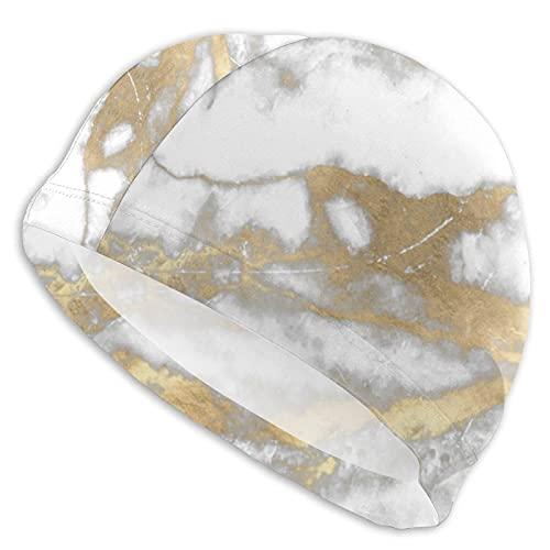 IUBBKI Gorras de natación para cabello largo mármol piedra abstracta blanco gris plata oro Carra natación sombreros señoras gorros de natación mujeres hombres adultos gorro de natación