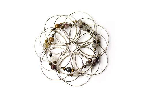 Mandala de Alambre de Dos Coronas desiguales. Ojo de Tigre. Flor de lotto, meditación Budista, Mandala Tibetano, motricidad Fina, geometría Sagrada, Flor de la Vida, Mandala 3D