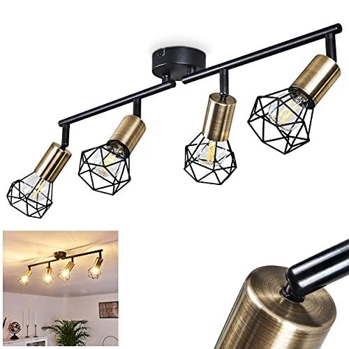Deckenleuchte Baripada, 4-flammige Zimmerlampe in Schwarz und Messingfarben, Gitterschirme mit Lichteffekt, Vintage Deckenlampe, 4 x E14 max. 40 Watt, für LED Leuchtmittel verfügbar