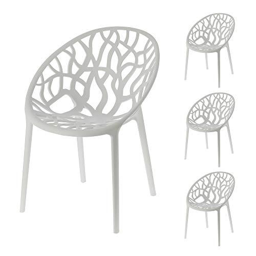Stuhl Design Forest 4er Set weiß Waldmotiv Baummotiv stapelbar Gartenstuhl aus Kunststoff (1 x 4er Set Stuhl Forest weiß)