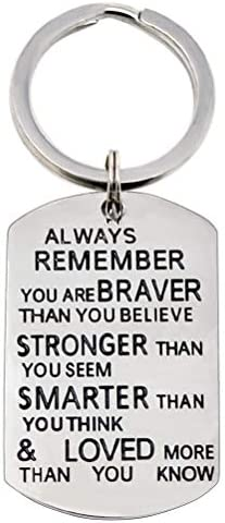Inspiration Keychain Gift Always Remember You Are Braver Than You Believe Stronger Keychain product image