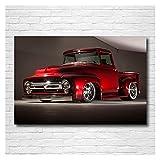 RHWXAX Moderna Pintura 1956 Ford F100 Pickup Red Streetrod Retro Coche Pósteres Lona Lienzo Arte de Arte de Lienzo para Decoración de la Sala de Hogar 20x28 Pulgadas Sin Marco