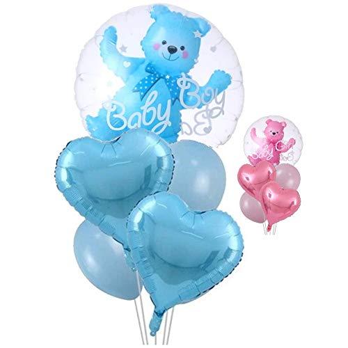 DIWULI, süßes 5 Teile Ballon-Set, Baby Boy Luftballon blau + 2 Herz-Ballons + 2 Latex-Ballons, Folien-Ballon Baby Bär Junge, Folienluftballon für Babyparty, Geburt, Kindergeburtstag, Geschenk-Deko