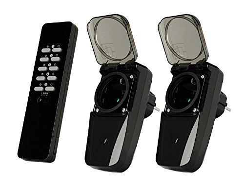 Trust Smart Home 433 Mhz Outdoor Funksteckdosen Set AGDR2-3500R (Zwei Funk-Steckdosenschalter für den Außenbereich mit Fernbedienung, Plug und Go, 1000 W)