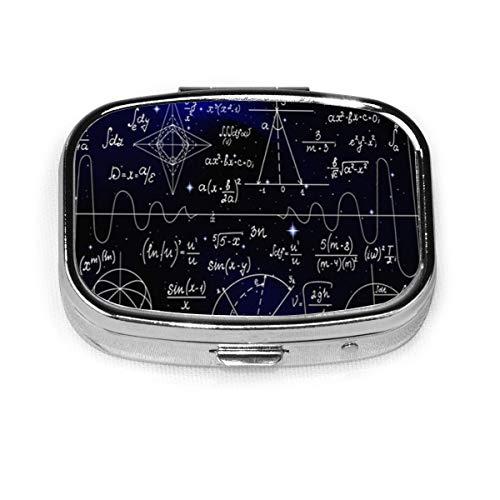 Fórmulas infinitas matemáticas Física Ciencia Moda personalizada Caja de píldora cuadrada de plata Medicina Tableta Titular de la cartera Organizador Funda para bolsillo o monedero