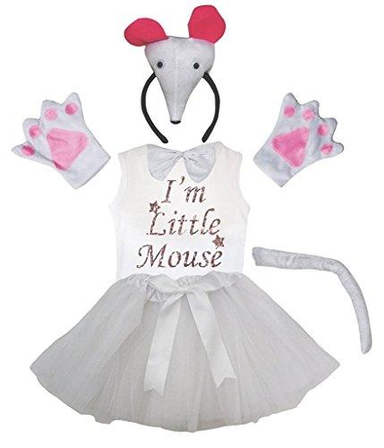 Petitebelle Bandeau 3D Bowtie Gants de queue shirt Jupe 6pc fille Costume 4-5 ans 3d souris blanc