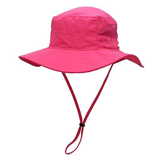 Ala ancha, borde suave, de secado rápido pescador sombrero, anti-ultravioleta Pesca Cap, al aire libre Senderismo Sombrero de sol, respirable, Delgado, hombres y mujeres de ala grande,Rosado