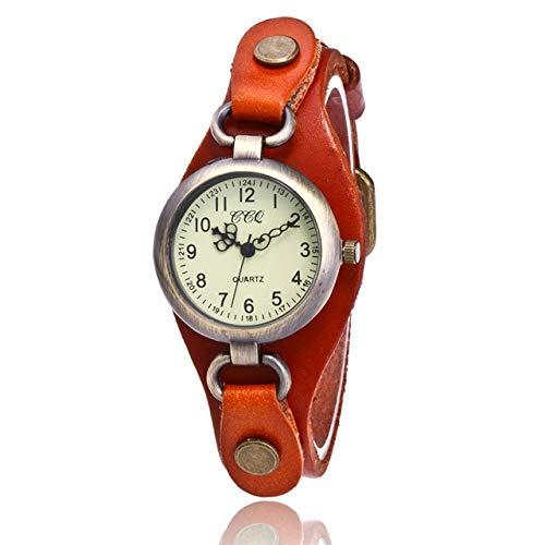 para los Relojes Retro Leather SSL Bronce pequeña Esfera de un Reloj de Cuarzo for Las Mujeres (Negro) (Color : Naranja)