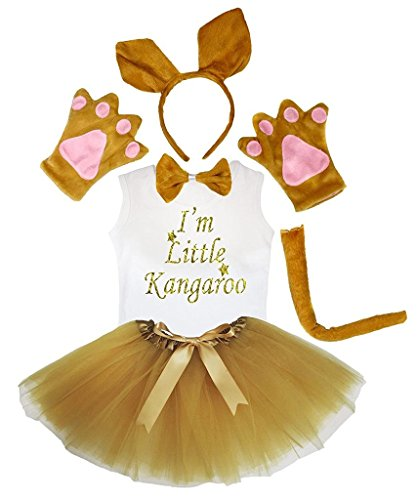 Petitebelle Hoofdband Bowtie staart handschoenen hemd rok 6 stuks meisjeskostuum 5-6 Yr bruin (kangoeroe)